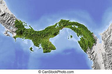 Panama, shaded relief map - Panama. Shaded relief map....