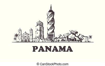 Panama sketch skyline. Panama hand drawn vector illustration.