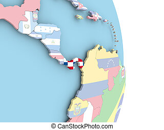 Panama with flag on globe