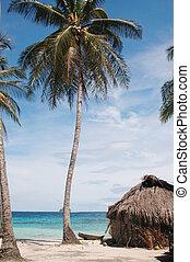 panama1024 - native hut with cayuco boat placid beach panama...