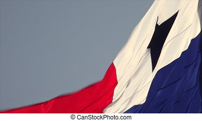 Panamanian Flag With Copy Space - Panama City, closeup view...