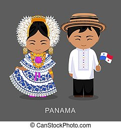 Panamanians in national dress with a flag. Man and woman in traditional costume. Travel to Panama. People. Vector flat illustration.