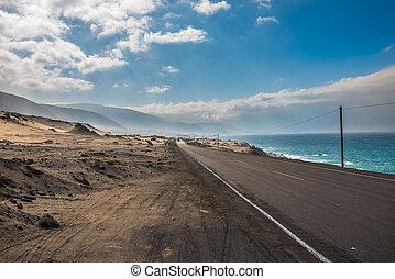 panamericana, camino, con, océano pacífico, en, el, derecho