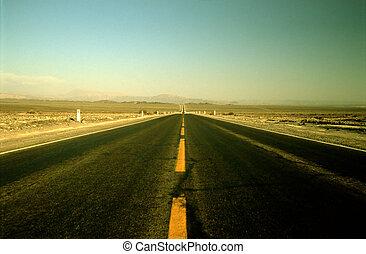The Panamericana street in the desert of peru