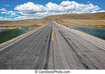 Road leading from north to south through the whole sout american continent