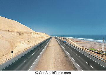 Panamericana road with Pacific ocean, aerial view panamericana in Ca?ete, Per?.