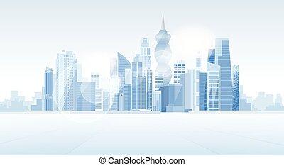 panamskie miasto, drapacz chmur, prospekt, cityscape, tło