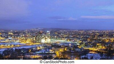 Panarama Oslo at dawn. Norway. Zoom. TimeLpase