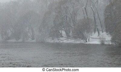 Panarama riverbank in the snow. Ekaterinburg. Russia