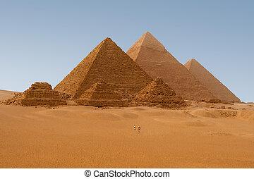 panaromic, egyiptomi, giza, hat, egyiptom, piramis, kilátás