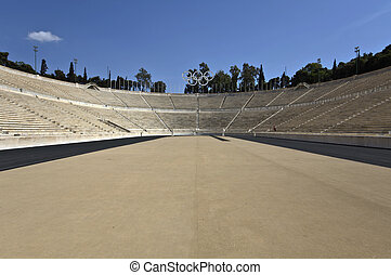 Panathenaic stadium at Arditos hill, Athens, Greece...