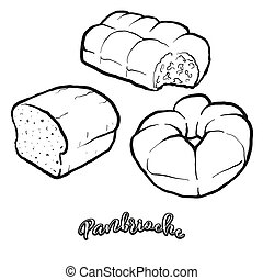 Panbrioche food sketch separated on white. Vector drawing of...