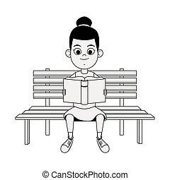panca, cartone animato, sedendo ragazza, carino, libro, lettura