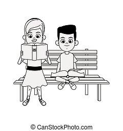 panca, cartone animato, sedendo ragazza, libro, lettura, ragazzo