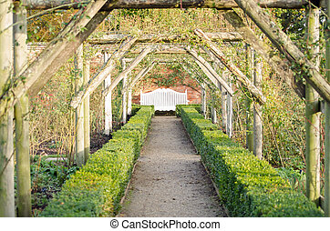panca, prospettiva, giardino