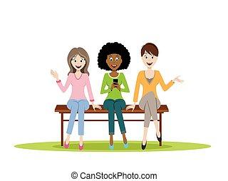 panca, ragazze, tre, seduta
