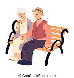 panca, seduta, vecchie persone
