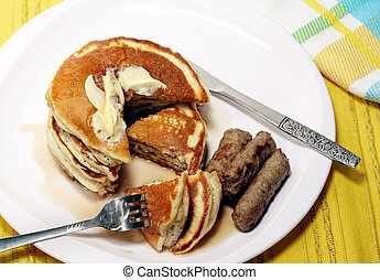 Pancake Breakfast - Hearty breakfast of pancakes and sausage...