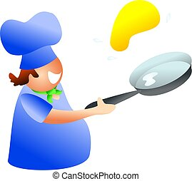 pancake chef - chef tossing a pancake - icon people series