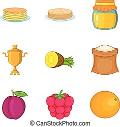 Pancake icons set, cartoon style