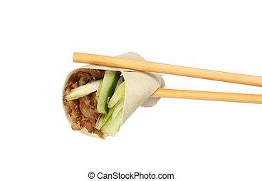 Pancake in chopsticks