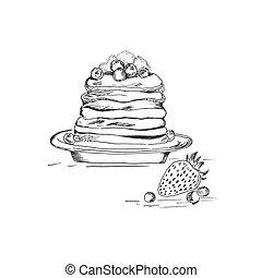 Pancake in sketch style, hand drawn vector illustration
