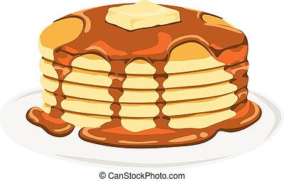 Isolated vector delicious pancake with maple syrup in a plate