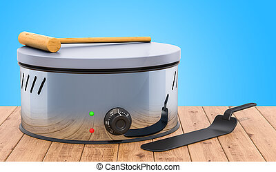 Pancake maker or crepe maker with kitchen utensils on the wooden table. 3D rendering