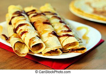 Pancake - Plate with pancake on table
