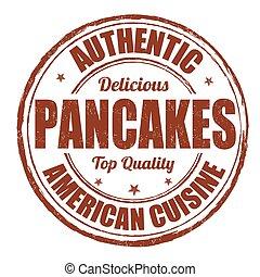 Pancake stamp - Pancake grunge rubber stamp on white...