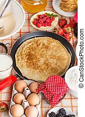Pancake - Still life on kitchen table with pancake