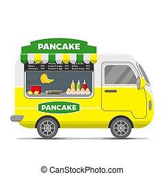 Pancake street food vector caravan trailer