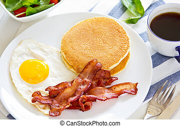 Pancake with Bacon and fried egg - Pancake with Bacon, fried...
