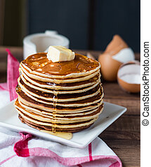 Pancake with butter, honey and milk, sweet breakfast, ...