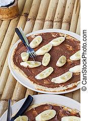 pancake with chocolate and banana