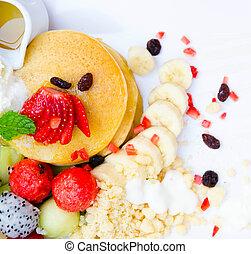 pancake with fruit topping