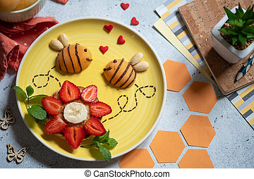 Pancake with fruits for kids breakfast