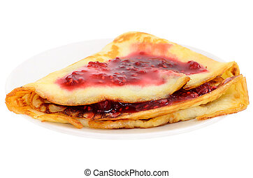 Pancake with raspberry jam on a plate isolated on white ...