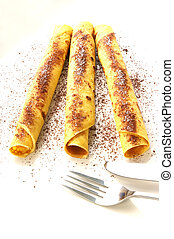 pancake with sugar and cacao