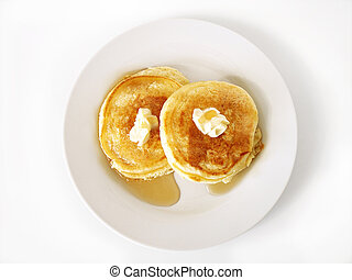 Pancakes 1 - Silver Dollar Pancakes with butter and syrup on...