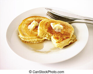 Pancakes 2 - Silver Dollar Pancakes with butter and syrup on...