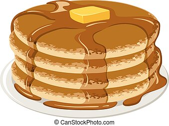Pancakes - An Illustration of stack of pancakes with syrup ...
