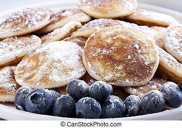 Pancakes and Blueberries - Dutch mini pancakes, or ...