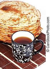 Pancakes and tea