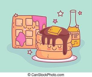 pancakes and waffle with jam character menu restaurant cartoon food cute