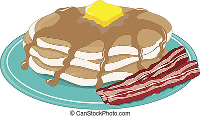A stack of pancakes with syrup, butter and bacon