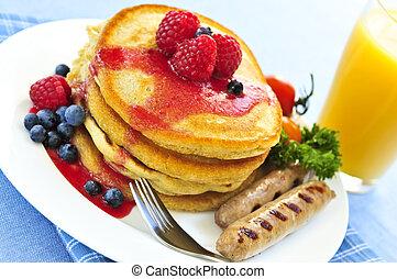 Pancakes breakfast - Breakfast of buttermilk pancakes with...