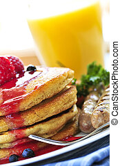 Pancakes breakfast - Breakfast of buttermilk pancakes with...