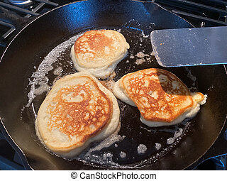Pancakes Cooking in Cast Iron Skillet - Pancakes were just ...