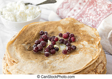 pancakes cranberries on a plate , berries,